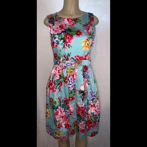 SoHo Blue Floral Belted Retro 50s Inspired Dress 6